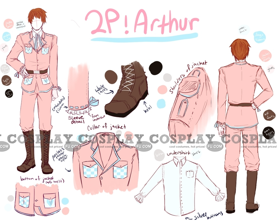 Arthur Cosplay Costume (2P England Military Outfit) from Hetalia