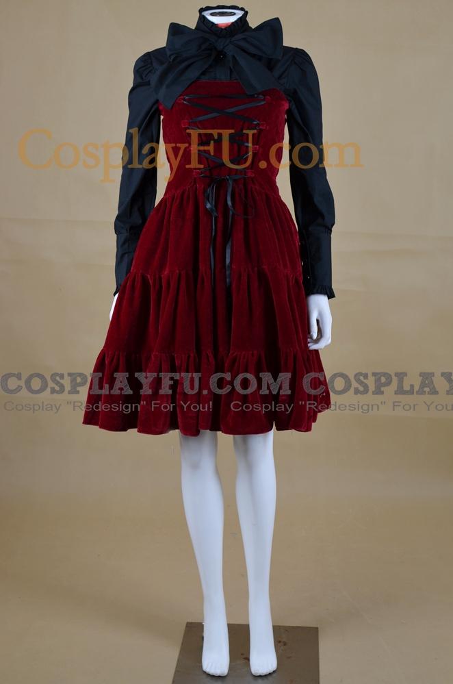 Dark Red Corduroy Strapless Gothic Lolita Dress