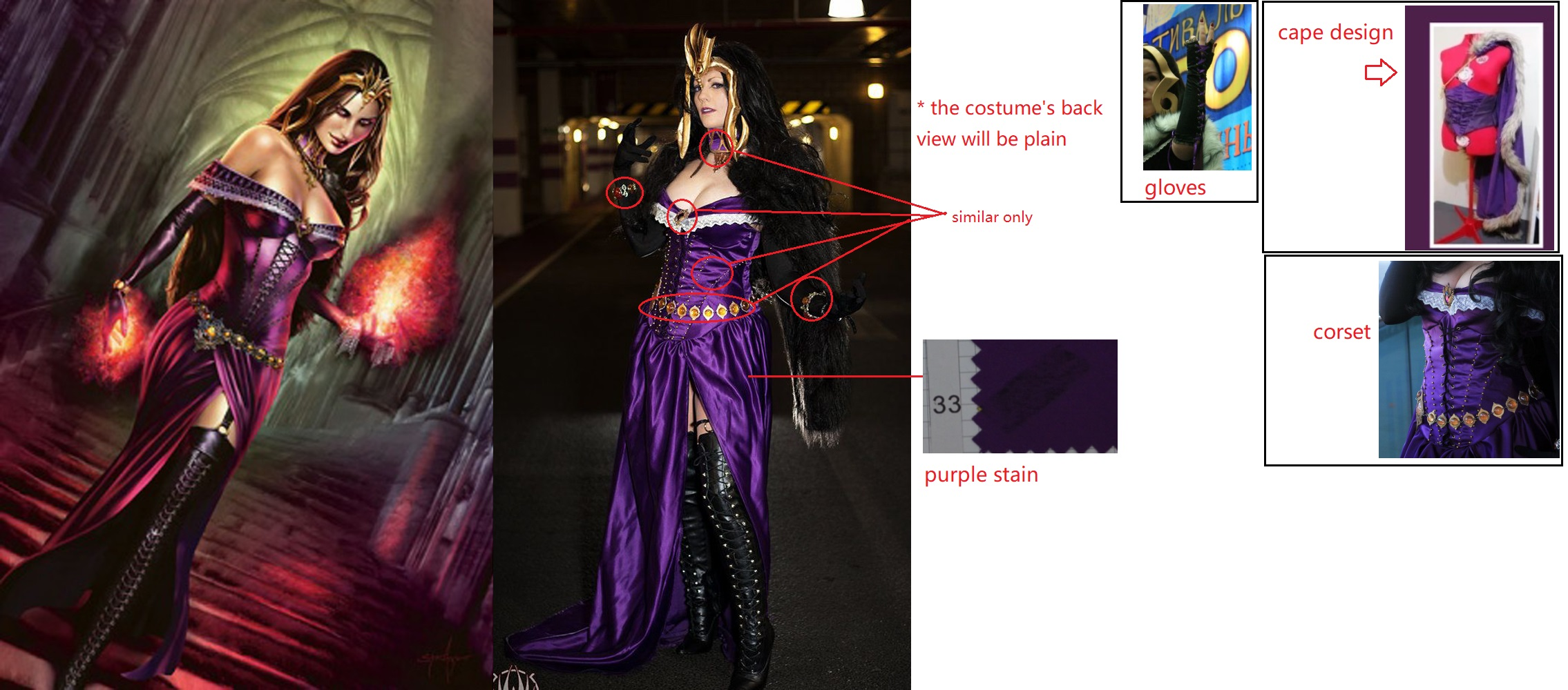 Liliana Cosplay Costume from Magic: The Gathering Online
