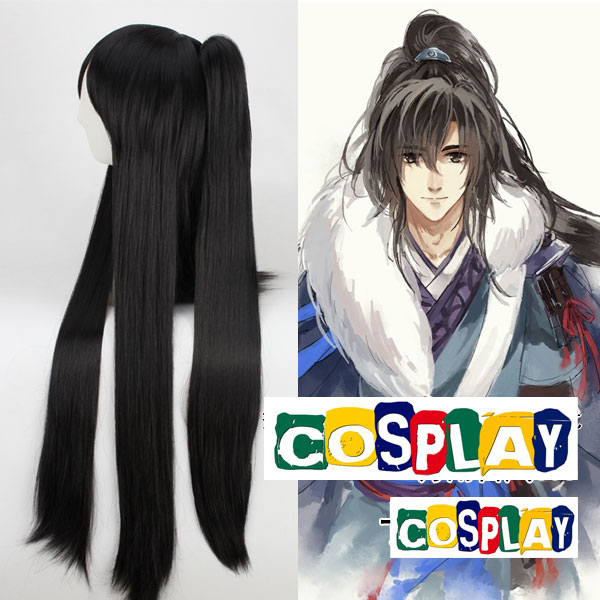 Long Straight Pony Tail Black Wig (7652)