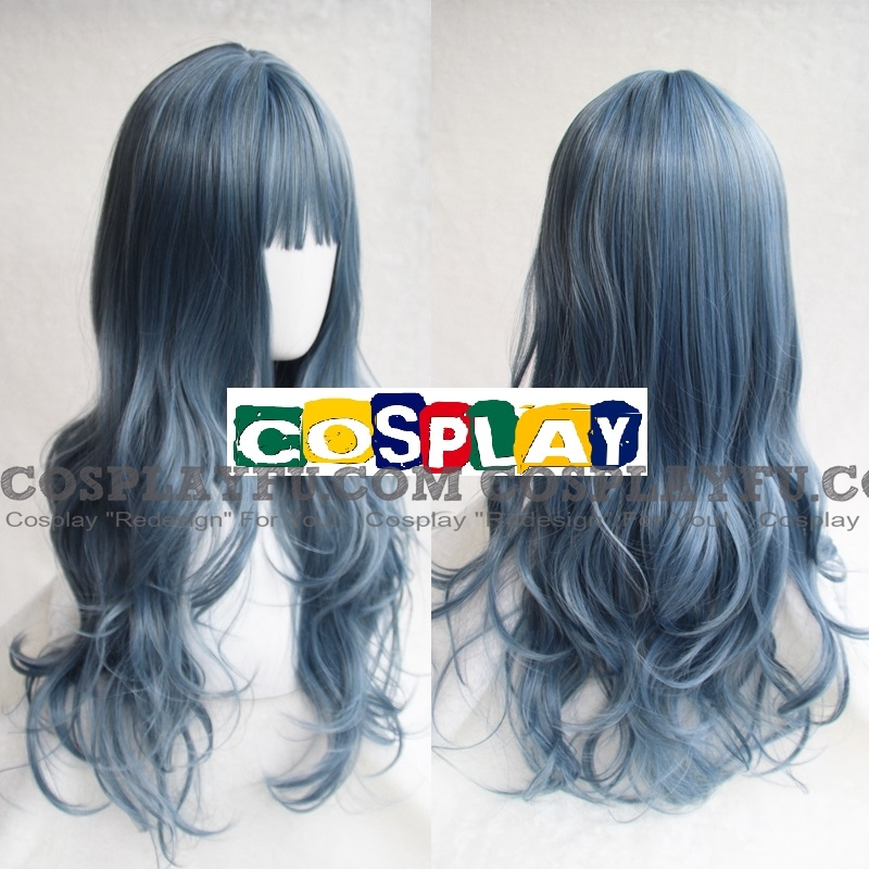 Long Curly Blue Wig (Tomoyo)