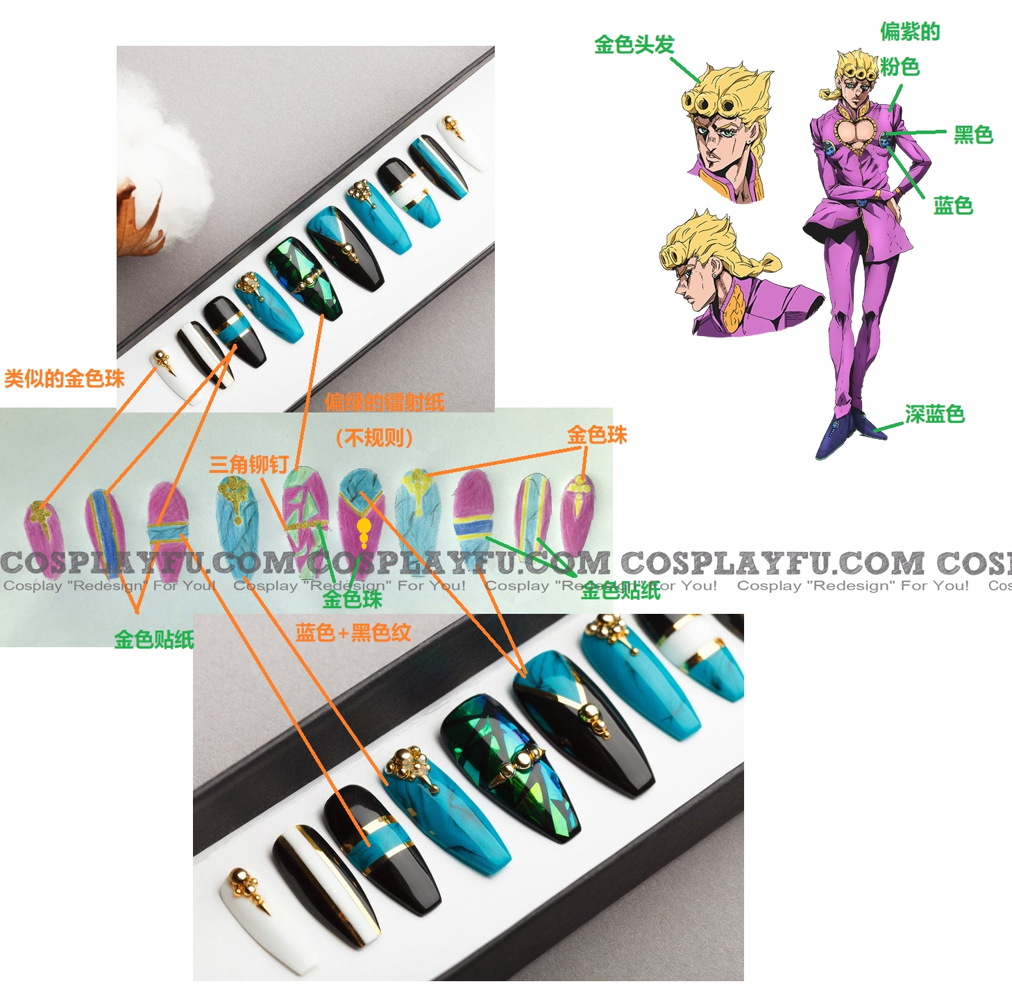 Giorno Nails from JoJo's Bizarre Adventure