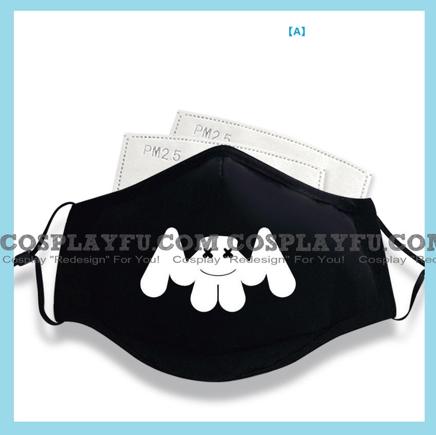 Marshmello Face Mask for Adults (Cotton, Washable, Reusable) with Pocket with Nose Wire