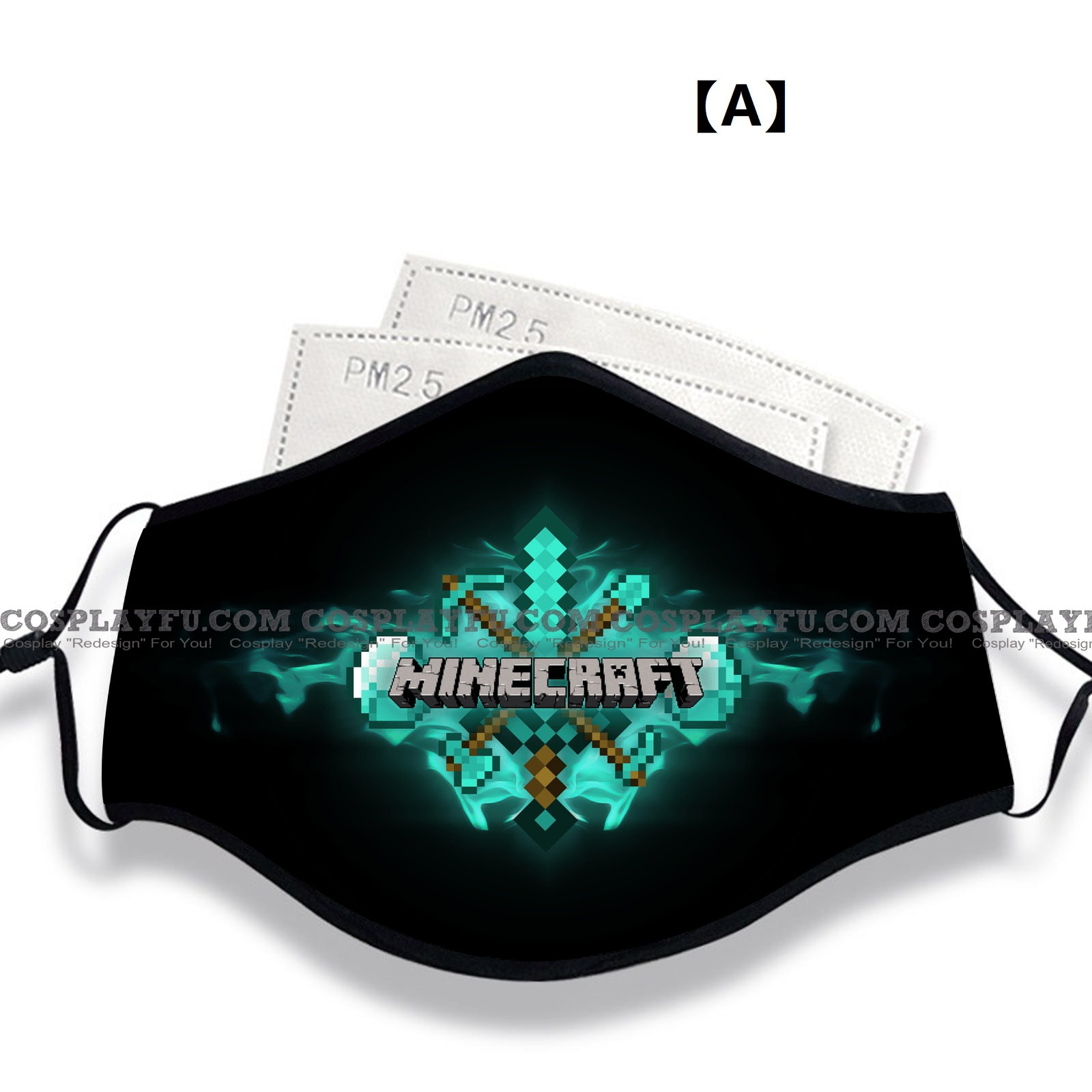 Minecraft Face Mask for Adults (Cotton, Washable, Reusable) with Pocket with Nose Wire (79314)