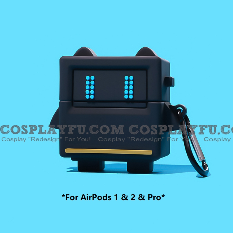Cute Black Robot | Airpod Case | Silicone Case for Apple AirPods 1, 2, Pro