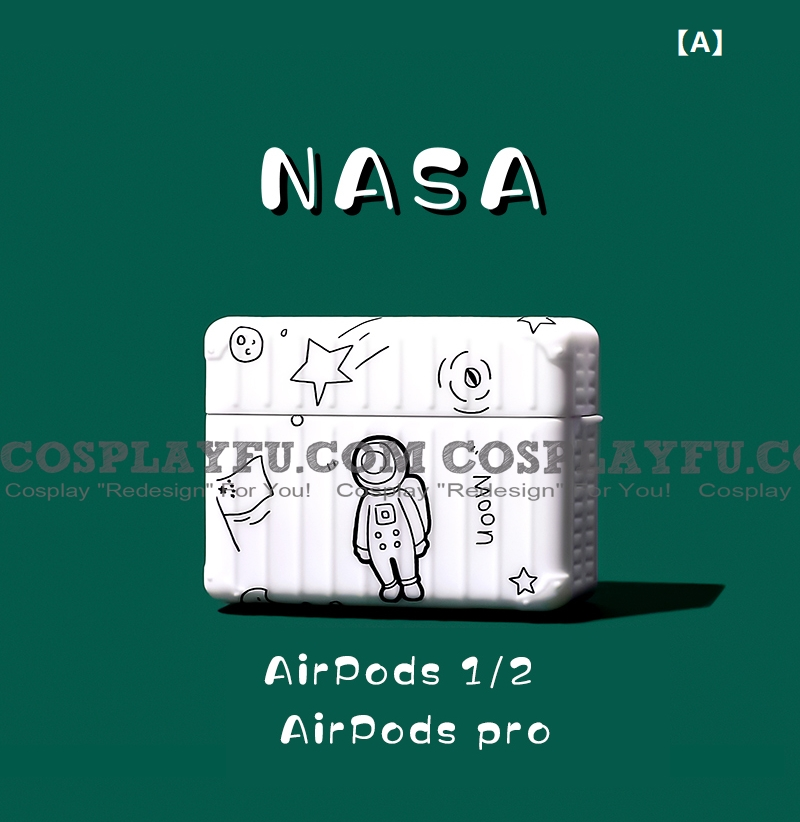 Cute 화이트 Astronaut | Airpod Case | Silicone Case for Apple AirPods 1, 2, Pro 코스프레