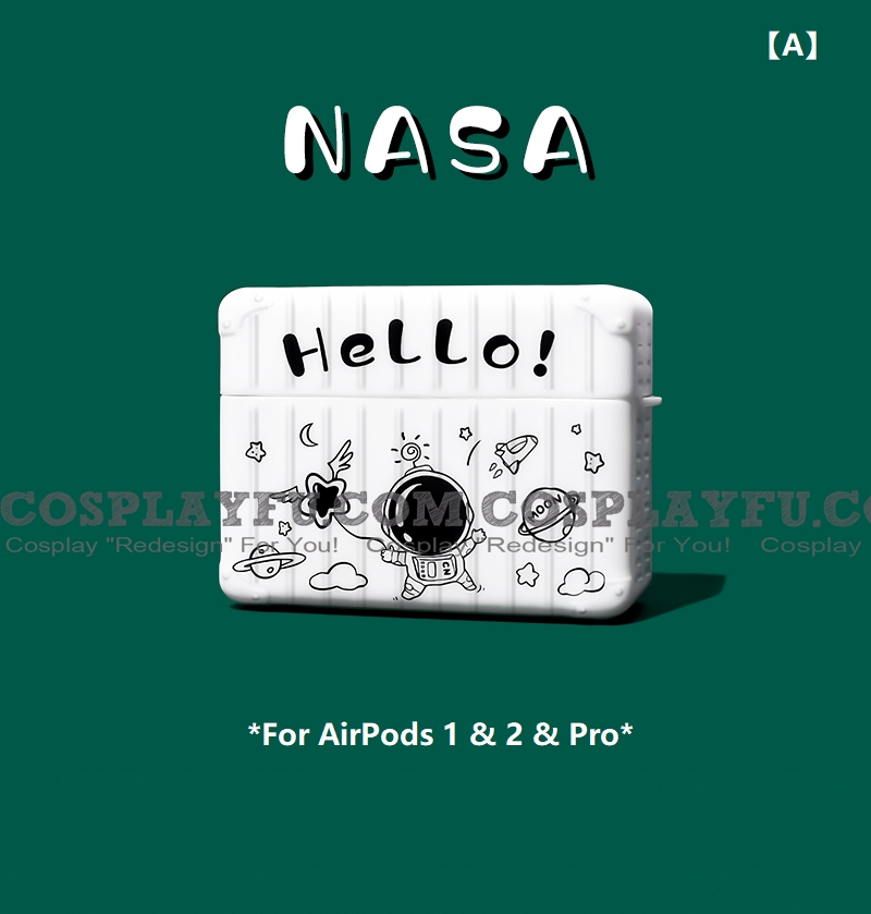 Cute 검은 Astronaut | Airpod Case | Silicone Case for Apple AirPods 1, 2, Pro 코스프레