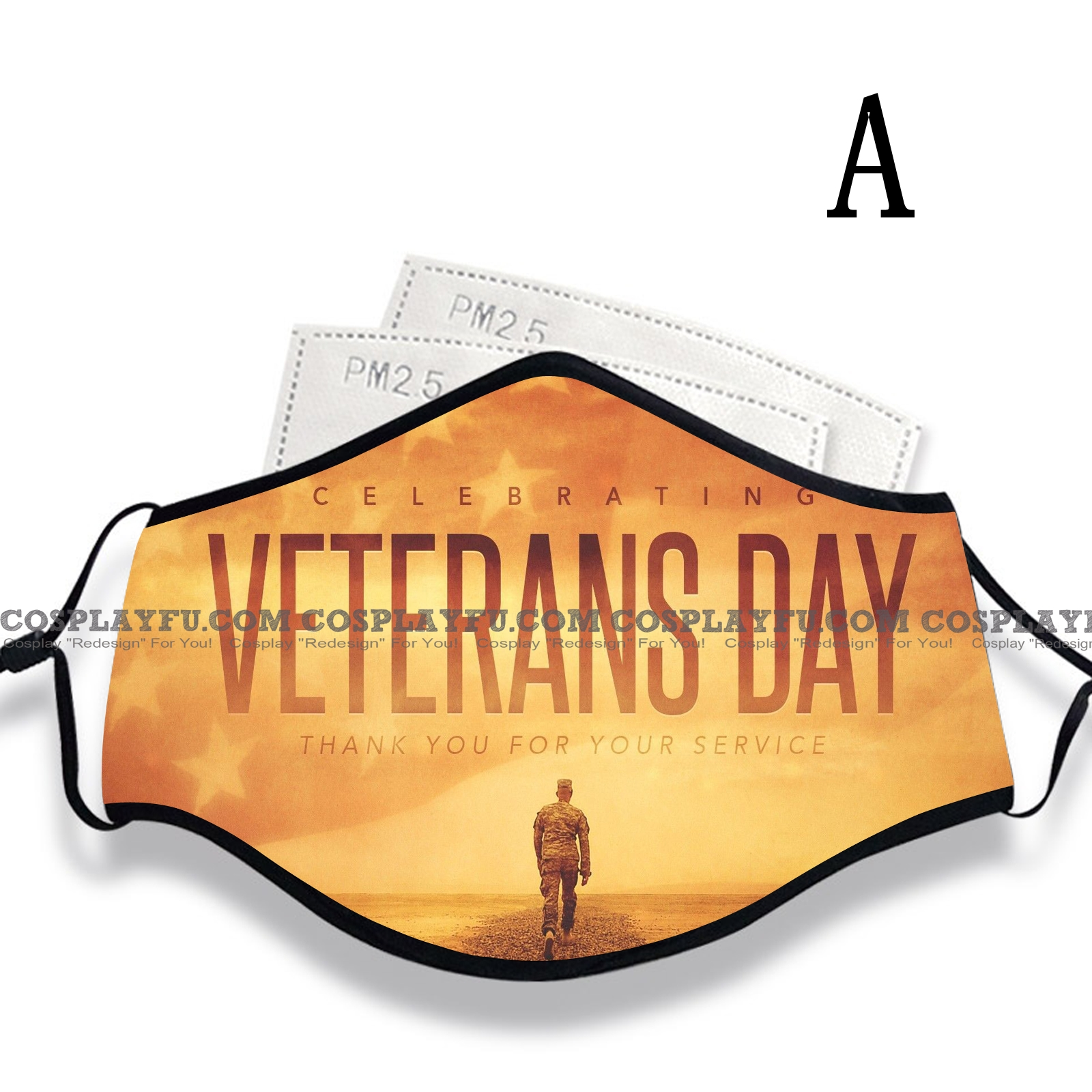Veterans' Day Face Mask for Adults (Cotton, Washable, Reusable) with Pocket with Nose Wire
