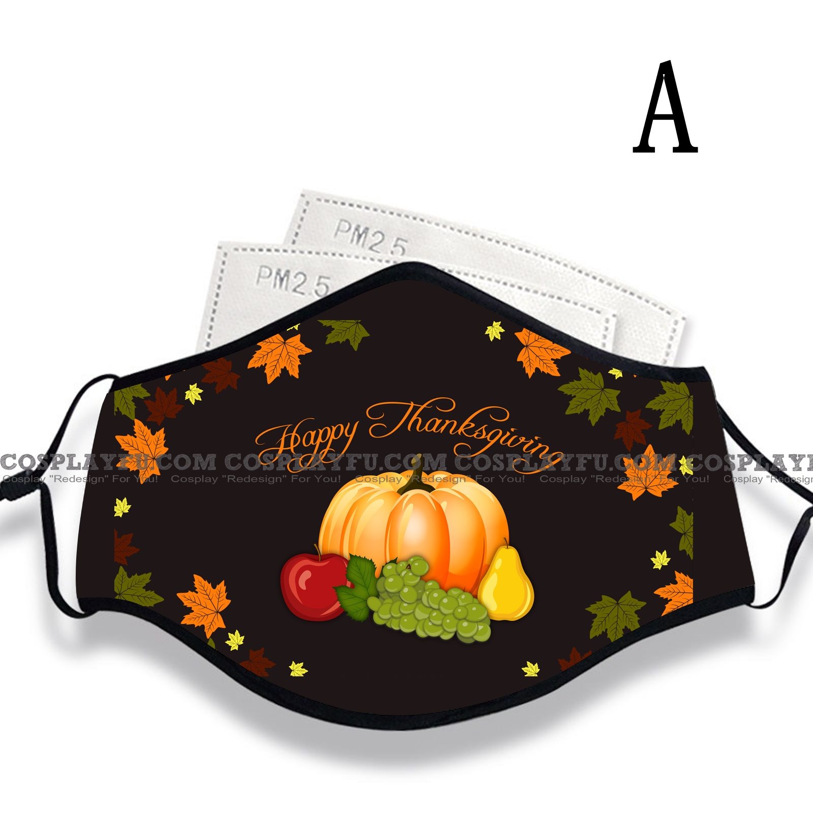 Thanksgiving Face Mask for Adults (Cotton, Washable, Reusable) with Pocket with Nose Wire