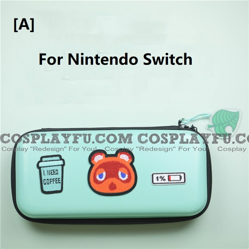 Animal Crossing Tom Nook Green Color Nintendo Switch and Switch Lite Carrying Case - 8 Game Cards Holding