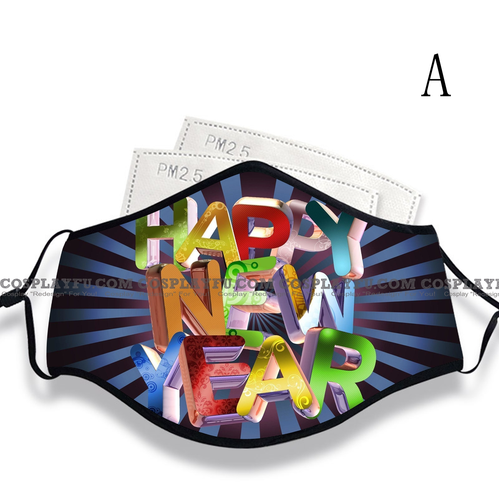 New Year's Day Face Mask for Adults (Cotton, Washable, Reusable) with Pocket with Nose Wire