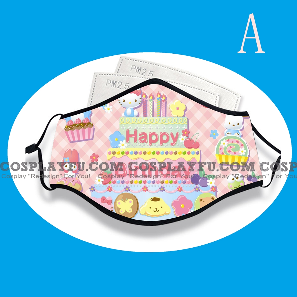 Hello Kitty Birthday Face Mask for Adults (Cotton, Washable, Reusable) with Pocket with Nose Wire