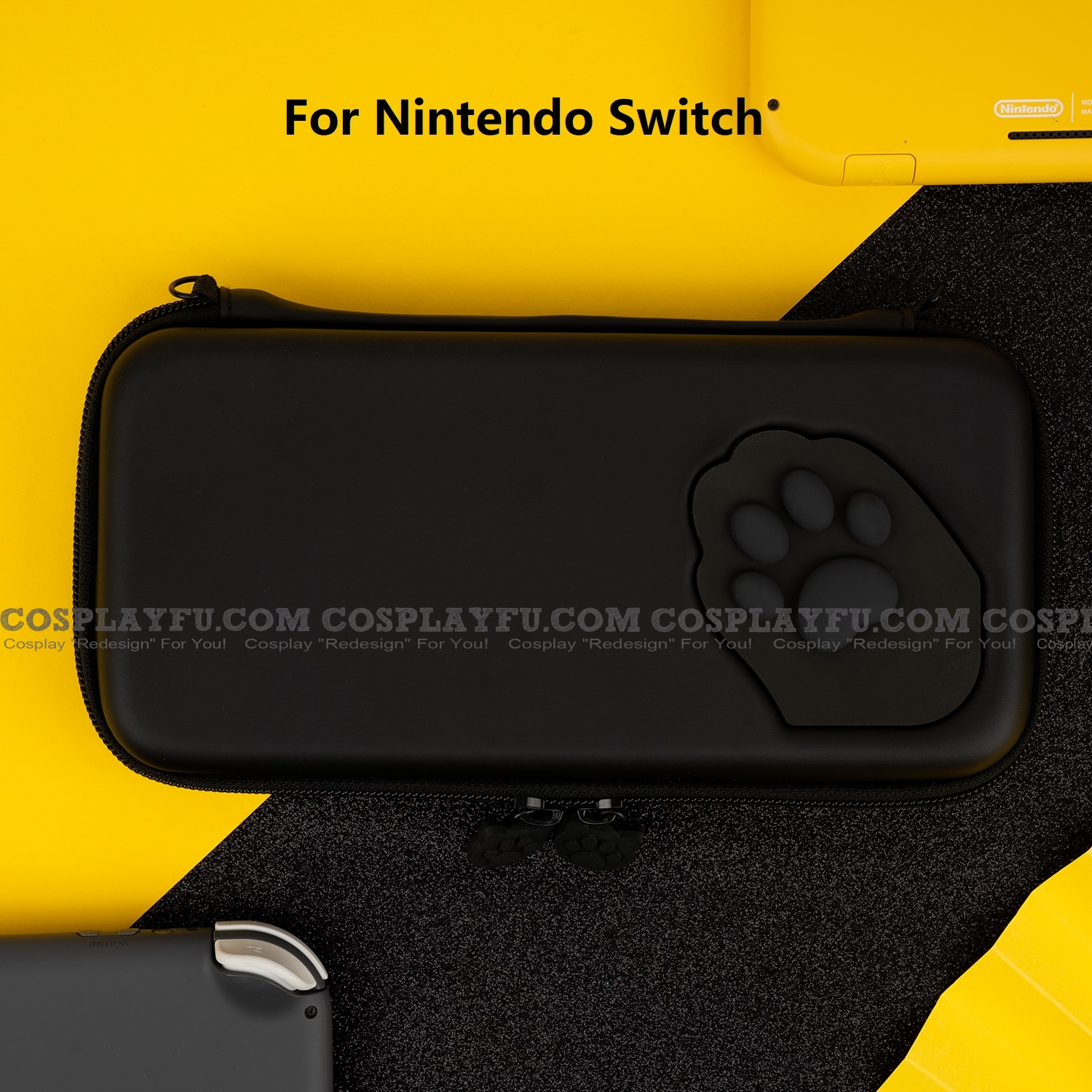 Black Cat paw Nintendo Switch Carrying Case - 10 Game Cards Holding