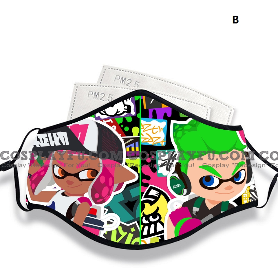 Splatoon Emoji Face Mask for Adults (Cotton, Washable, Reusable) with Pocket with Nose Wire
