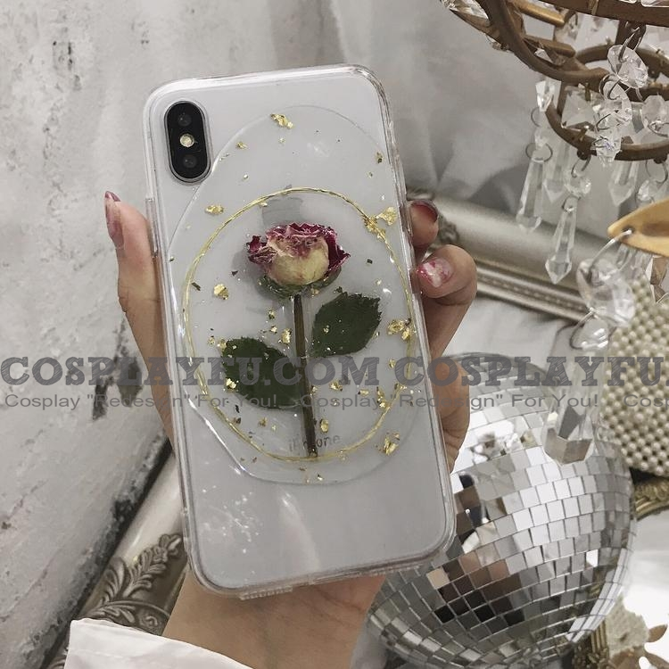 Handmade Телефон Case for iPhone 6 7 8 plus x xr xs max case Косплей (Rose with Golden Circle)