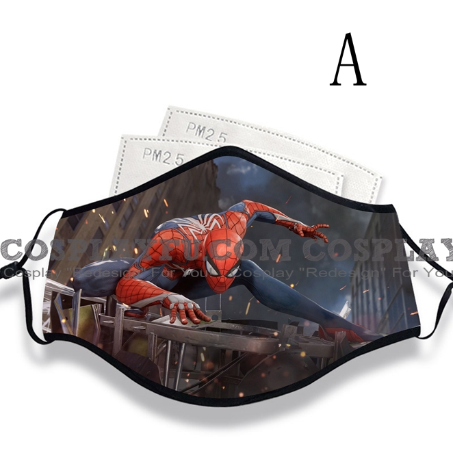 Spiderman Face Mask for Adults (Cotton, Washable, Reusable) with Pocket with Nose Wire