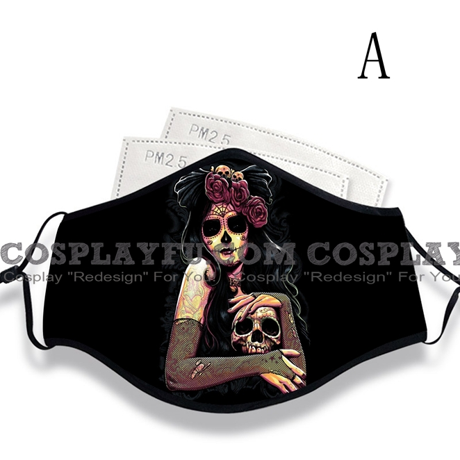 Day of the Dead Mask for Adults (Cotton, Washable, Reusable) with Pocket with Nose Wire
