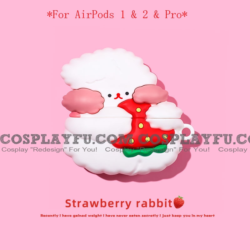 Lovely Strawberry Rabbit | Silicone Case for Apple AirPods 1, 2, Pro