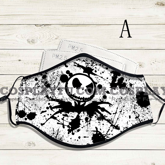 Reusable Washable Adjustable Adult Kids Face Mask • Nightmare Before Christmas • Cotton • Lovely Animal with Filter Pocket Nose Wire