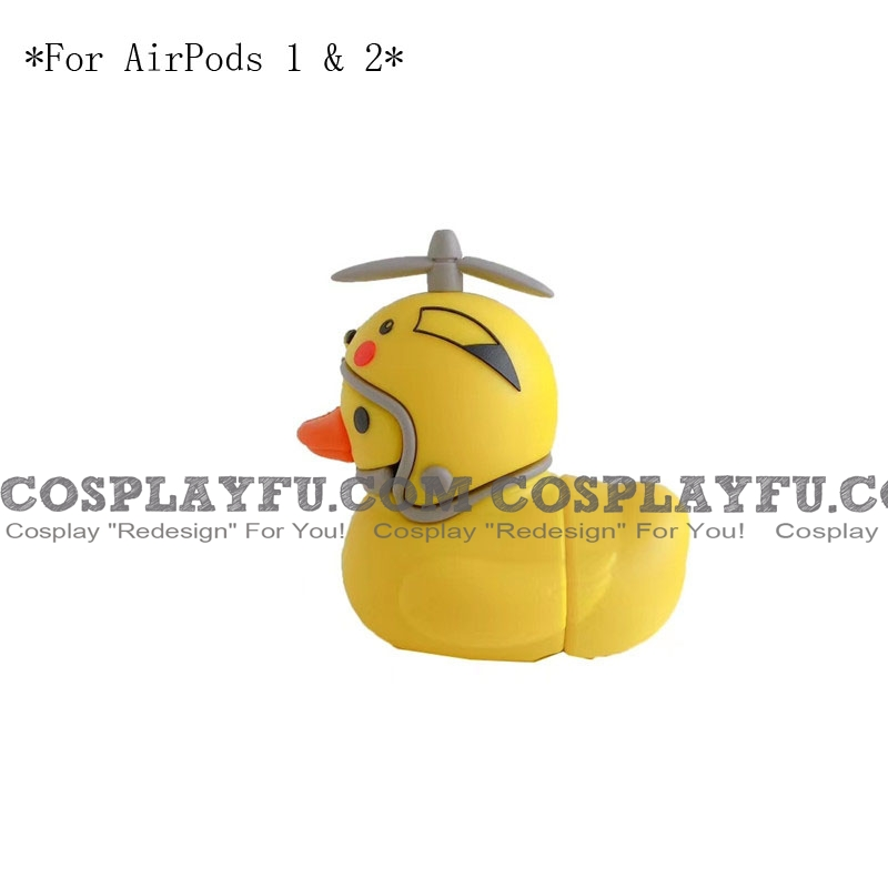 Lovely イエロー Duck with Helmet | Airpod Case | Silicone Case for Apple AirPods 1, 2, Pro コスプレ (81643)