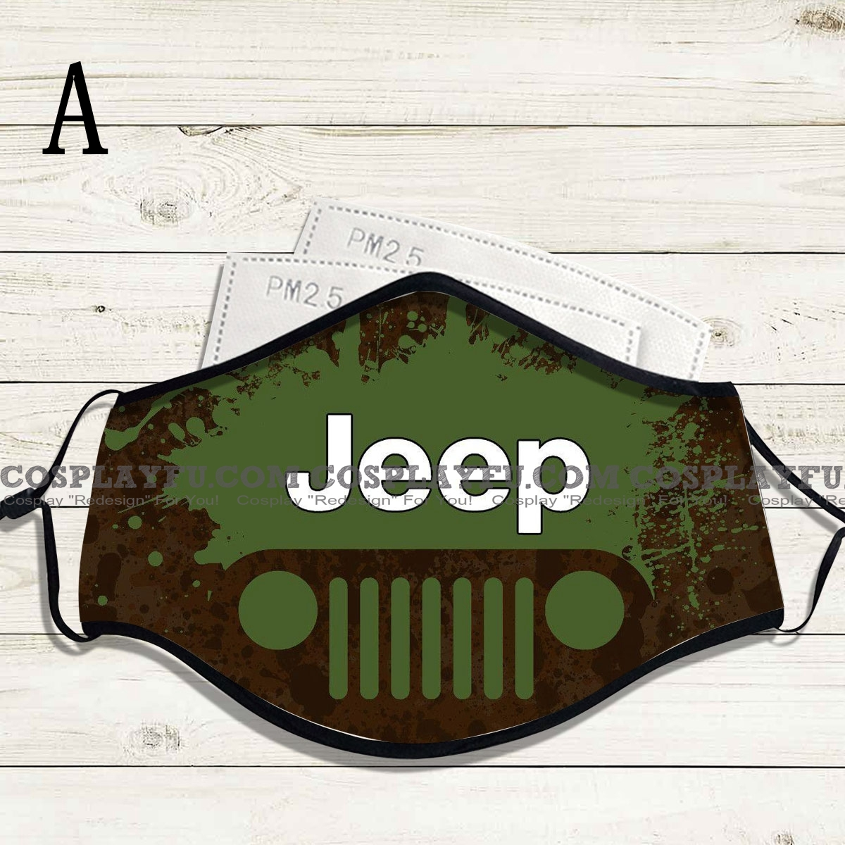 Reusable Washable Adjustable Adult Kids Face Mask • Jeep • Cotton • Lovely with Filter Pocket Nose Wire