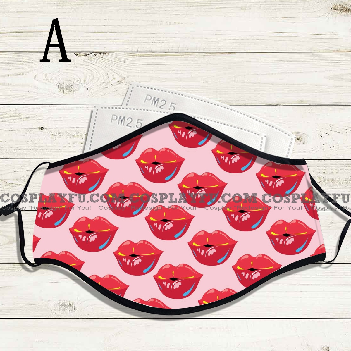 Reusable Washable Adjustable Adult Kids Face Mask • Lips • Cotton • Lovely with Filter Pocket Nose Wire