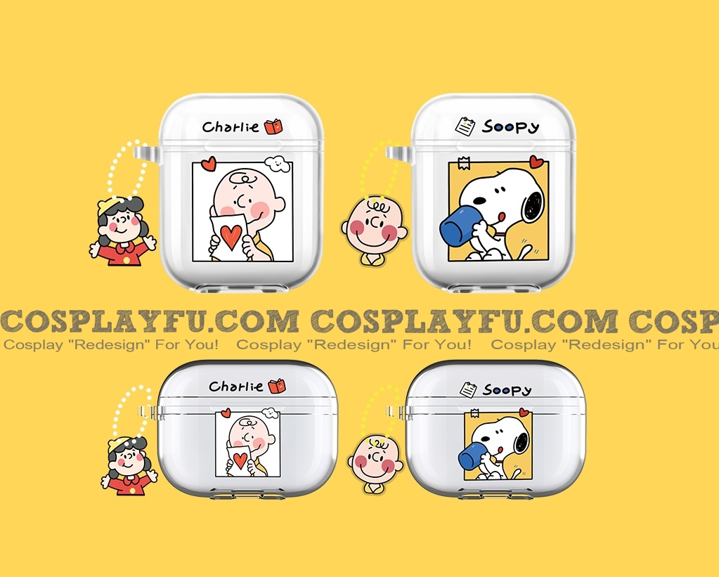 Lovely Charlie Snoopy Transparent Airpod Case | Silicone Case for Apple AirPods 1, 2, Pro