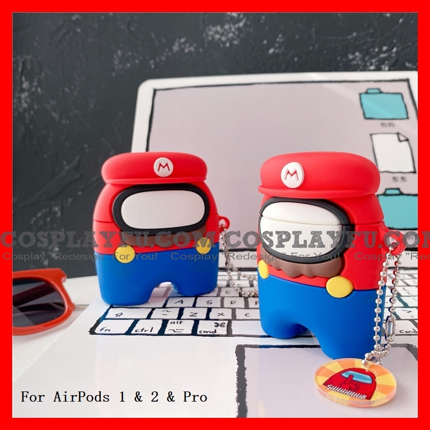 Lovely Super Mario Among Us Airpod Case | Silicone Case for Apple AirPods 1, 2 e Pro Cosplay