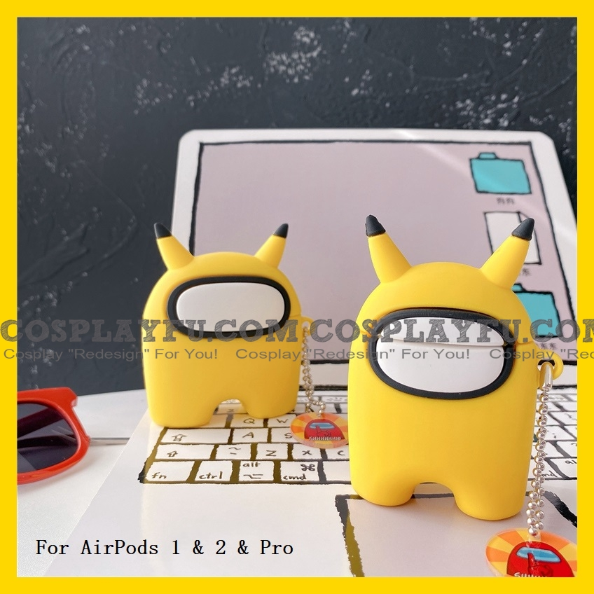 Lovely Pikachu Among Us Airpod Case | Silicone Case for Apple AirPods 1, 2 e Pro Cosplay