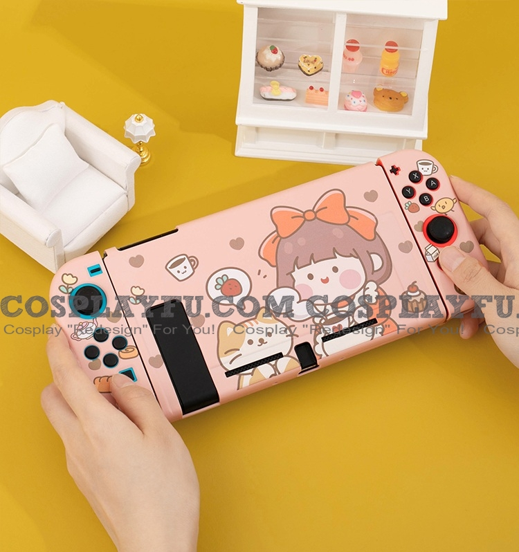 Pink Red Ribbon Girl Switch and Lite Shell Protection Cover