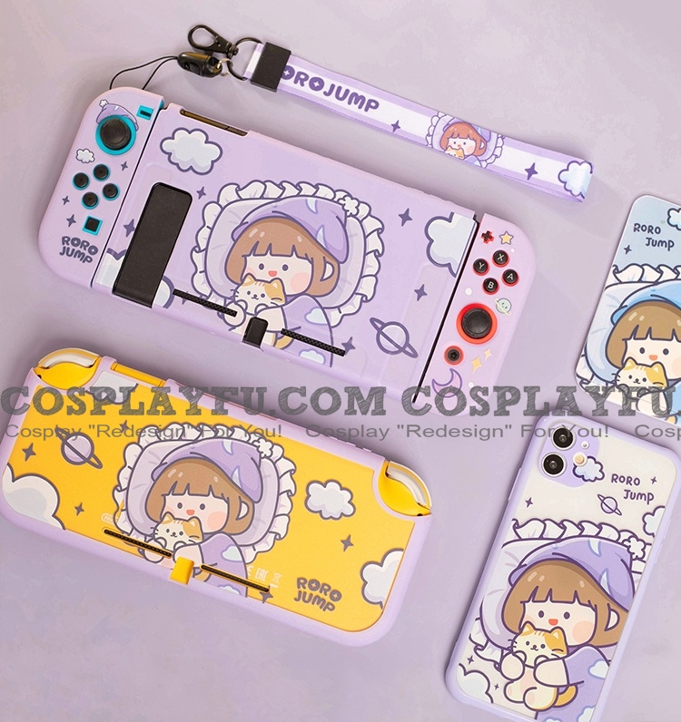 Purple Good Night Girl Switch and Lite Shell Protection Cover