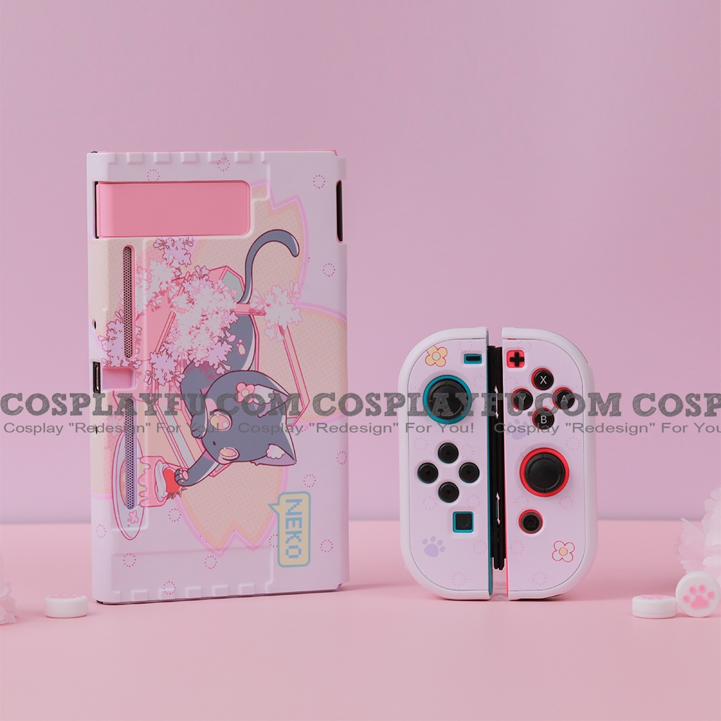 Cute Japanese Cat Neko Pink Nintendo Switch Protection Cover - TPU