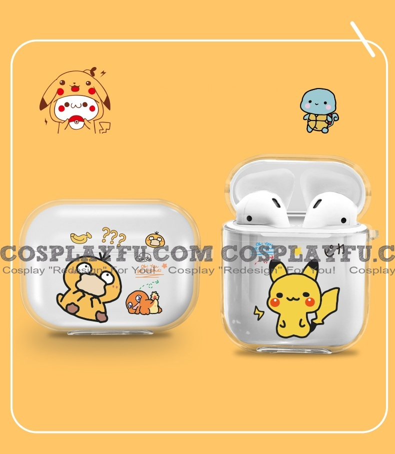 Lovely Pokémon Pikachu Duck Transparent Airpod Case | Silicone Case for Apple AirPods 1, 2, Pro Cosplay (84322)
