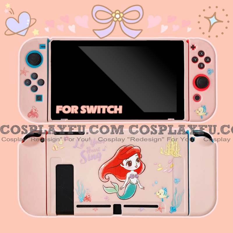 Soft Pink Princess Ariel Switch Shell Protection Cover TPU from The Little Mermaid