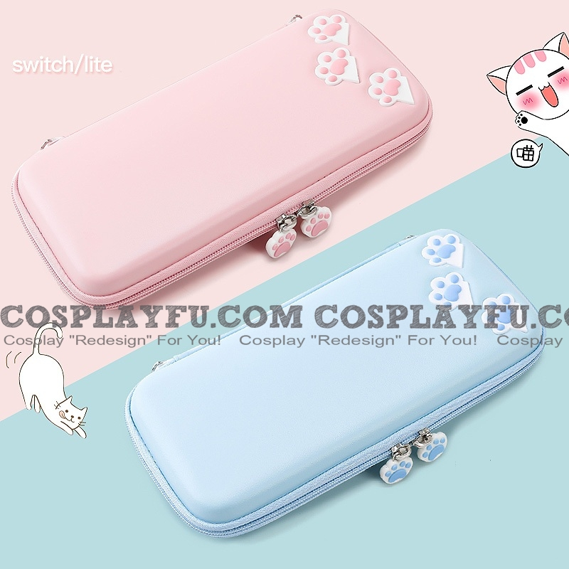 Cute Pink Blue Little Cat Paws Nintendo Switch or Lite Carrying Case - 10 or 8 Game Cards Holding