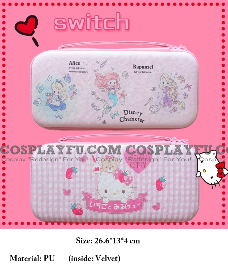 Cute Cartoon Pink Kitty Mermaid Nintendo Switch Carrying Case - 12 Game Cards Holding