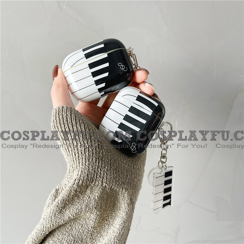 Lovely Cute Cartoon Piano Music Art with 3D Chain Airpod Case | Silicone Case for Apple AirPods 1, 2 と Pro コスプレ