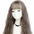 60 cm Long Curly Grey Wig