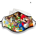 Mario Face Mask for Adults (Cotton, Washable, Reusable) with Pocket with Nose Wire