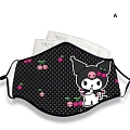 Kuromi Face Mask for Adults (Cotton, Washable, Reusable) with Pocket with Nose Wire