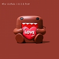 Lovely Domo-kun with Heart | Airpod Case | Silicone Case for Apple AirPods 1, 2, Pro (81551)