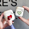 Lovely Red Green Heart Transparent Airpod Case | Silicone Case for Apple AirPods 1, 2, Pro