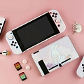 Cute Rabbit Bunny and Tram Purple Nintendo Switch Protection Cover - TPU