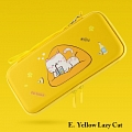 Cute Red Black Green Yellow Lazy Cat Nintendo Switch Carrying Case - 10 Game Cards Holding